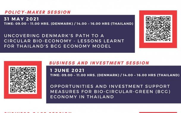 """สัมมนาออนไลน์ ในหัวข้อ """"Thai-Danish Cooperation on Bio-Circular-Green Economy Model"""""""